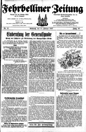 Fehrbelliner Zeitung on Feb 17, 1937