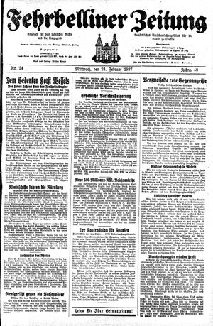 Fehrbelliner Zeitung vom 24.02.1937
