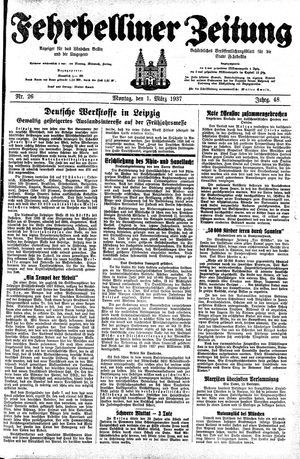 Fehrbelliner Zeitung vom 01.03.1937