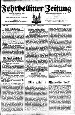 Fehrbelliner Zeitung vom 05.03.1937