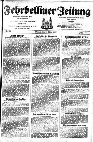 Fehrbelliner Zeitung vom 08.03.1937