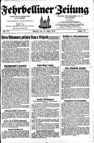 Fehrbelliner Zeitung vom 15.03.1937