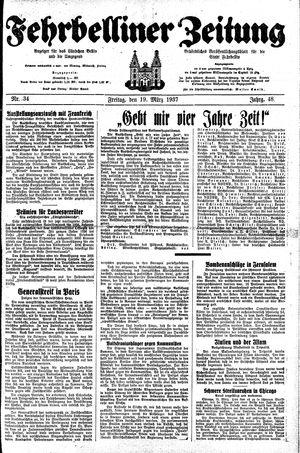 Fehrbelliner Zeitung vom 19.03.1937