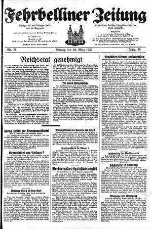 Fehrbelliner Zeitung vom 22.03.1937