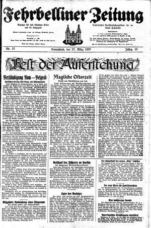 Fehrbelliner Zeitung vom 27.03.1937