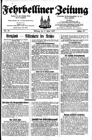 Fehrbelliner Zeitung vom 05.04.1937