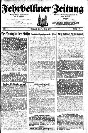 Fehrbelliner Zeitung vom 07.04.1937