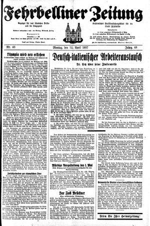 Fehrbelliner Zeitung vom 12.04.1937
