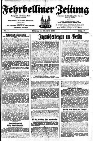 Fehrbelliner Zeitung vom 14.04.1937