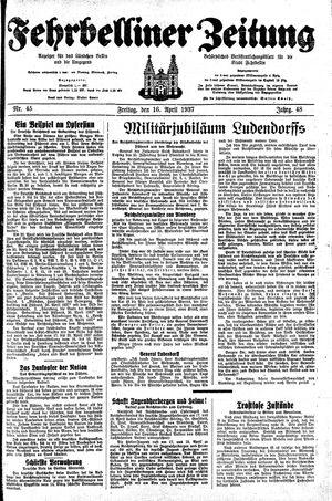 Fehrbelliner Zeitung vom 16.04.1937