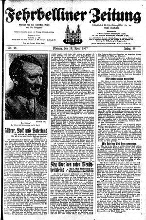 Fehrbelliner Zeitung vom 19.04.1937