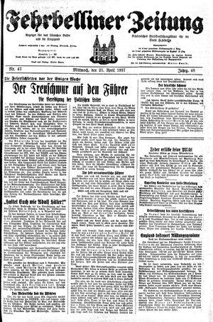 Fehrbelliner Zeitung vom 21.04.1937