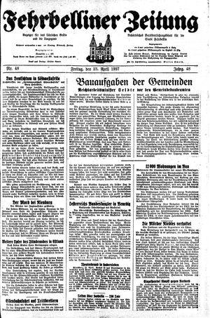Fehrbelliner Zeitung vom 23.04.1937