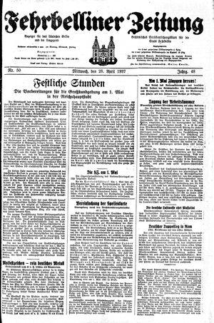 Fehrbelliner Zeitung vom 28.04.1937