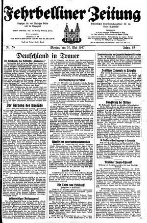 Fehrbelliner Zeitung vom 10.05.1937