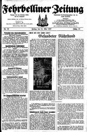 Fehrbelliner Zeitung vom 21.05.1937