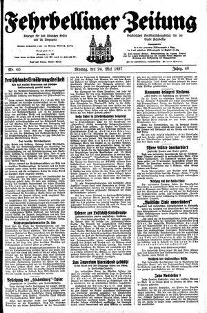 Fehrbelliner Zeitung vom 24.05.1937