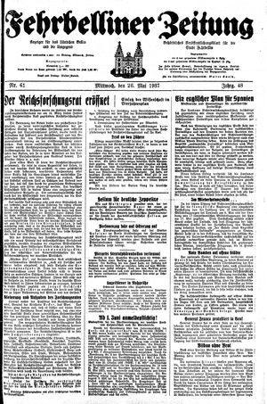 Fehrbelliner Zeitung vom 26.05.1937