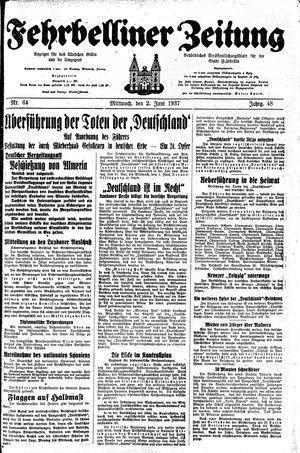Fehrbelliner Zeitung vom 02.06.1937