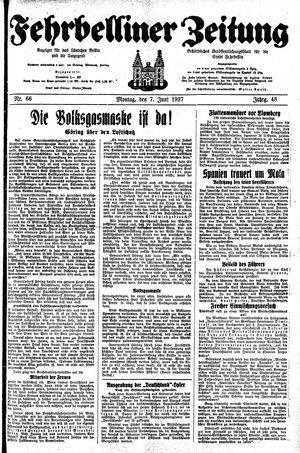 Fehrbelliner Zeitung vom 07.06.1937