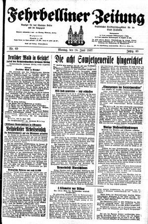 Fehrbelliner Zeitung on Jun 14, 1937