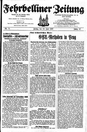 Fehrbelliner Zeitung vom 18.06.1937