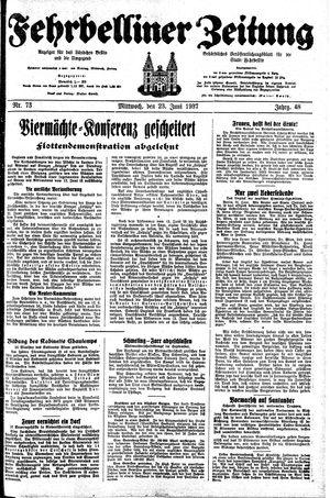 Fehrbelliner Zeitung vom 23.06.1937