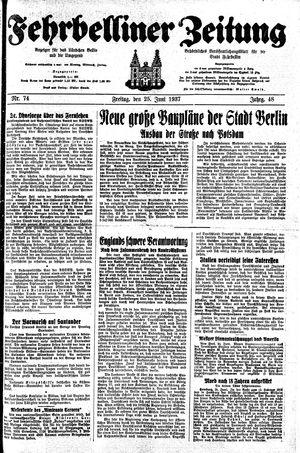 Fehrbelliner Zeitung vom 25.06.1937