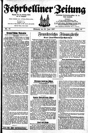 Fehrbelliner Zeitung vom 30.06.1937