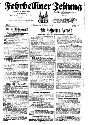 Fehrbelliner Zeitung vom 03.01.1938