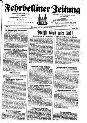 Fehrbelliner Zeitung vom 05.01.1938