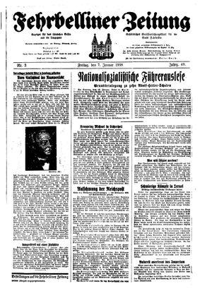 Fehrbelliner Zeitung vom 07.01.1938