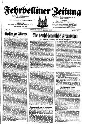 Fehrbelliner Zeitung vom 12.01.1938