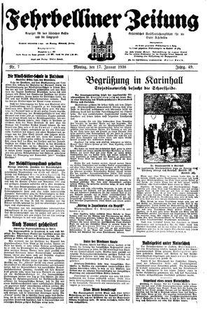 Fehrbelliner Zeitung vom 17.01.1938