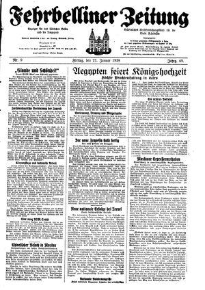 Fehrbelliner Zeitung vom 21.01.1938