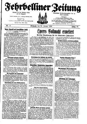Fehrbelliner Zeitung vom 26.01.1938