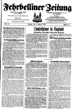 Fehrbelliner Zeitung vom 04.02.1938