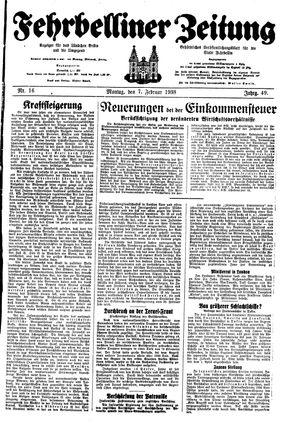 Fehrbelliner Zeitung vom 07.02.1938