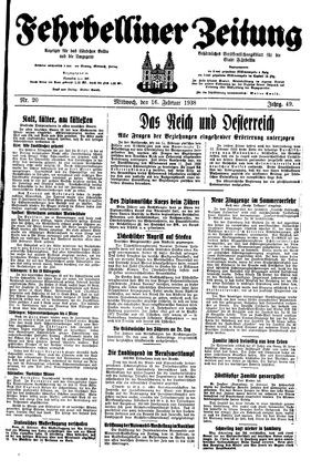 Fehrbelliner Zeitung vom 16.02.1938