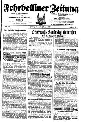 Fehrbelliner Zeitung vom 18.02.1938