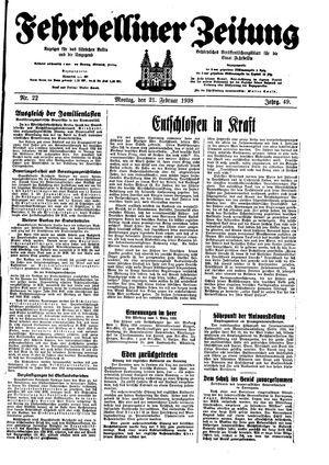 Fehrbelliner Zeitung on Feb 21, 1938