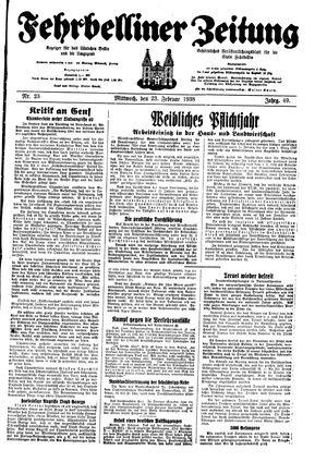 Fehrbelliner Zeitung vom 23.02.1938