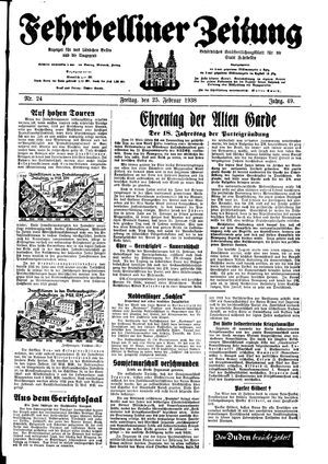 Fehrbelliner Zeitung vom 25.02.1938