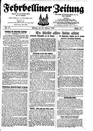 Fehrbelliner Zeitung vom 28.02.1938