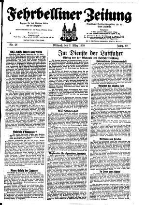 Fehrbelliner Zeitung vom 02.03.1938
