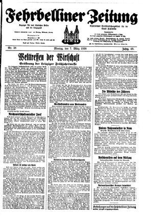Fehrbelliner Zeitung vom 07.03.1938