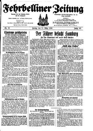 Fehrbelliner Zeitung vom 11.03.1938
