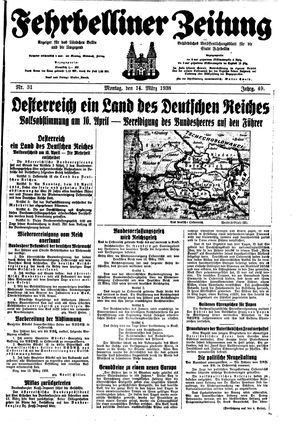 Fehrbelliner Zeitung vom 14.03.1938