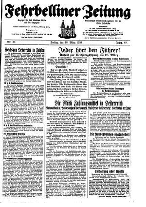 Fehrbelliner Zeitung vom 18.03.1938