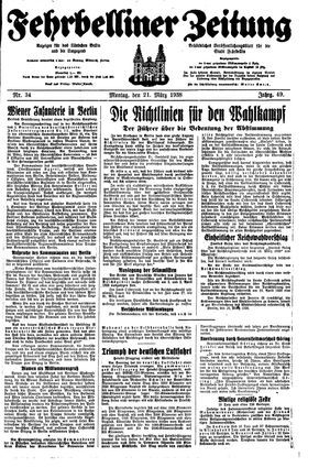 Fehrbelliner Zeitung vom 21.03.1938